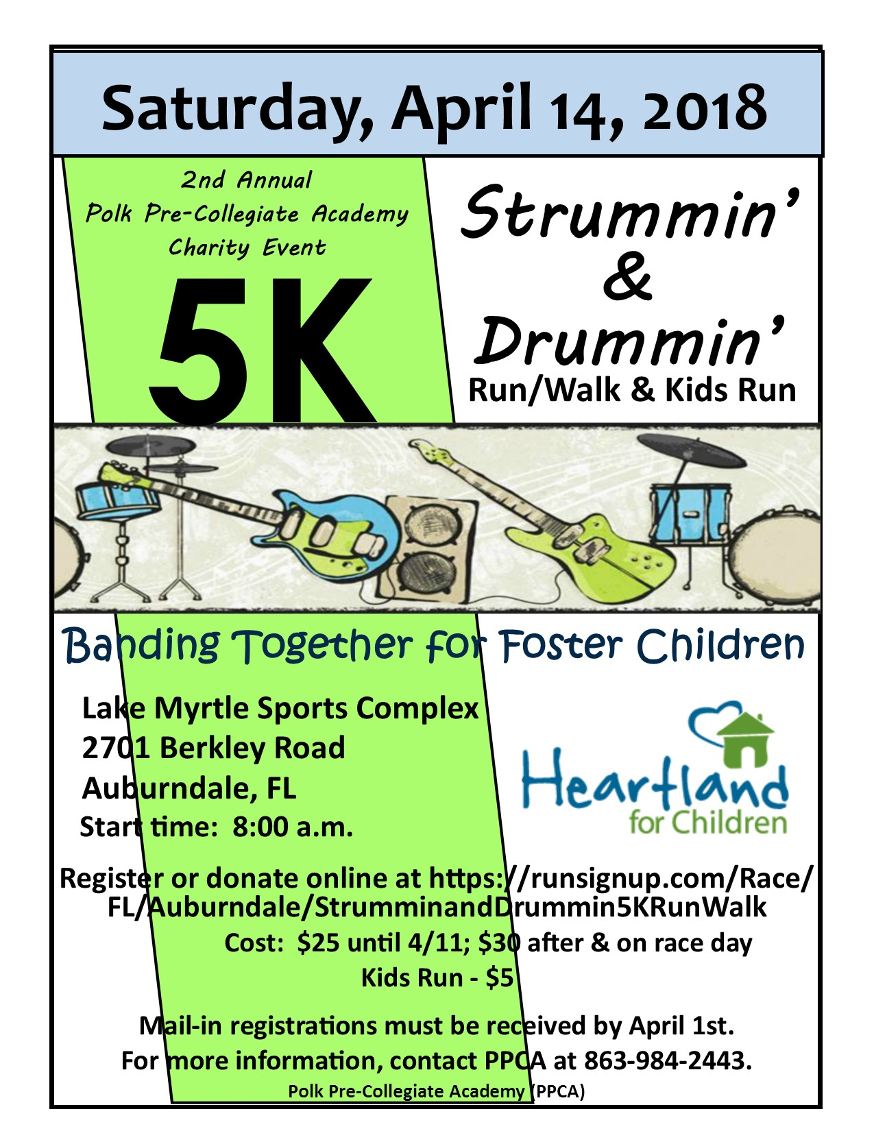 Strummin' & Drummin' 5k Walk/Run to benefit HFC